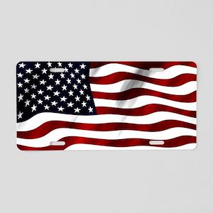 Waving American Flag Aluminum License Plate