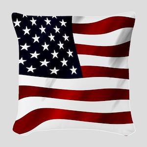 Waving American Flag Woven Throw Pillow