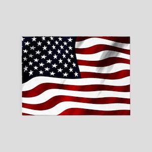 Waving American Flag 5'x7'Area Rug
