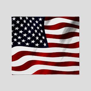 Waving American Flag Throw Blanket