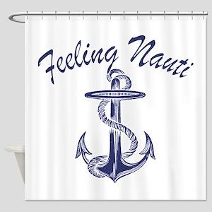 blue anchor feeling nauti Shower Curtain