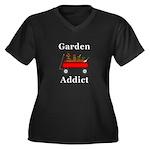 Garden Addic Women's Plus Size V-Neck Dark T-Shirt