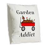 Garden Addict Burlap Throw Pillow