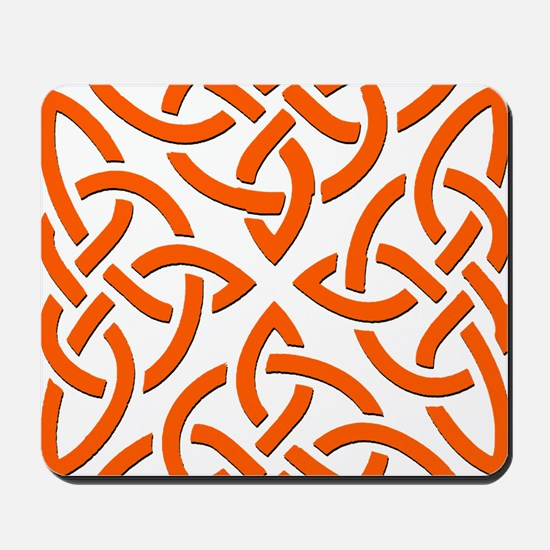 Orange Trinity Knot Mousepad