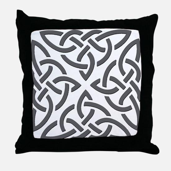 Gray Trinity Knot Throw Pillow