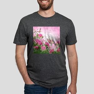 Butterfly Flowers Mens Tri-blend T-Shirt