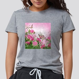 Butterfly Flowers Womens Tri-blend T-Shirt