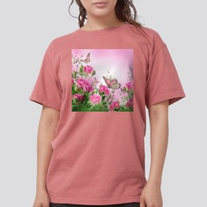 Butterfly Flowers Womens Comfort Colors Shirt