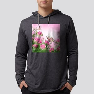Butterfly Flowers Mens Hooded Shirt