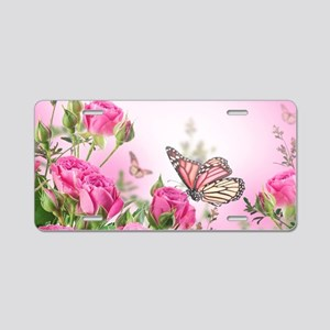 Butterfly Flowers Aluminum License Plate