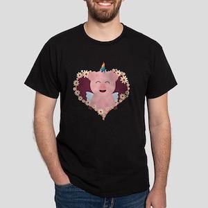 Unicorn angel pig in flower heart T-Shirt