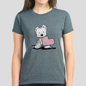 KiniArt Westie Warm Fuzzy Women's Dark T-Shirt