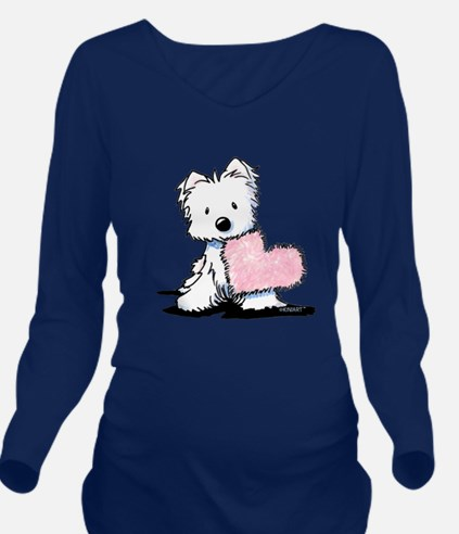 KiniArt Westie Warm Long Sleeve Maternity T-Shirt