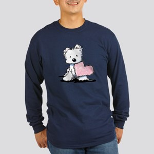 KiniArt Westie Warm Fuzzy Long Sleeve Dark T-Shirt