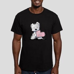 KiniArt Westie Warm Fu Men's Fitted T-Shirt (dark)