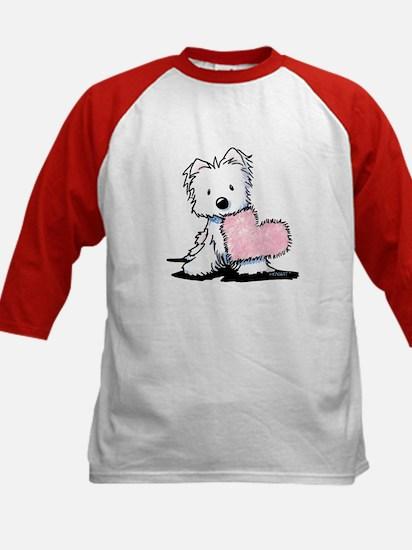 KiniArt Westie Warm Fuzzy Kids Baseball Jersey