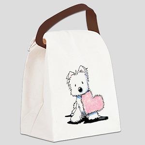 KiniArt Westie Warm Fuzzy Canvas Lunch Bag