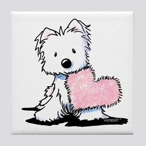 KiniArt Westie Warm Fuzzy Tile Coaster