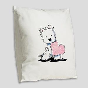 KiniArt Westie Warm Fuzzy Burlap Throw Pillow