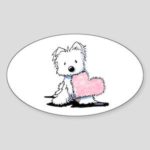 KiniArt Westie Warm Fuzzy Sticker (Oval 50 pk)