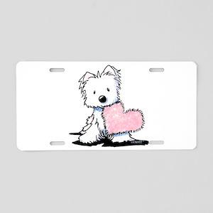 KiniArt Westie Warm Fuzzy Aluminum License Plate