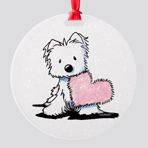 KiniArt Westie Warm Fuzzy Round Ornament