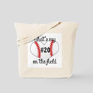 baseball heart on field Tote Bag