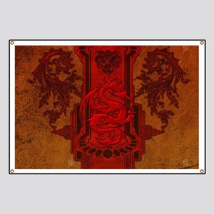 Chinese draon on button in red colors Banner