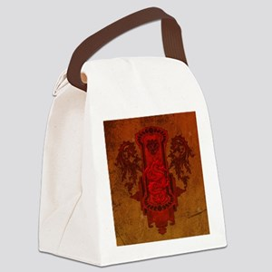 Chinese draon on button in red colors Canvas Lunch