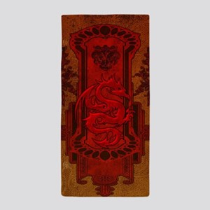 Chinese draon on button in red colors Beach Towel