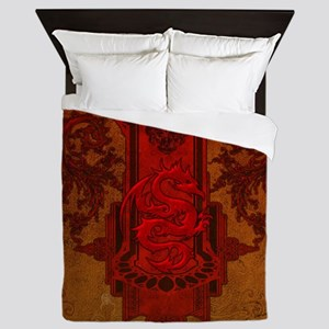 Chinese draon on button in red colors Queen Duvet