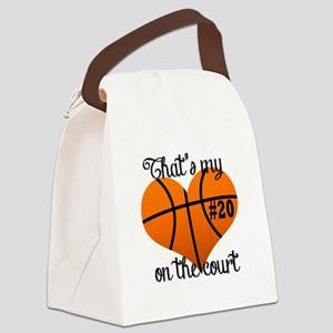 Basketball Heart Canvas Lunch Bag