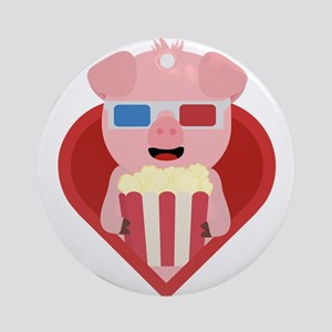 Cinema pig with popcorn in heart Round Ornament