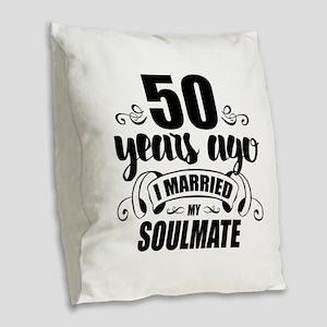 50th Anniversary Burlap Throw Pillow