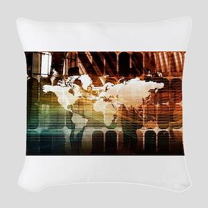 Global Management Woven Throw Pillow