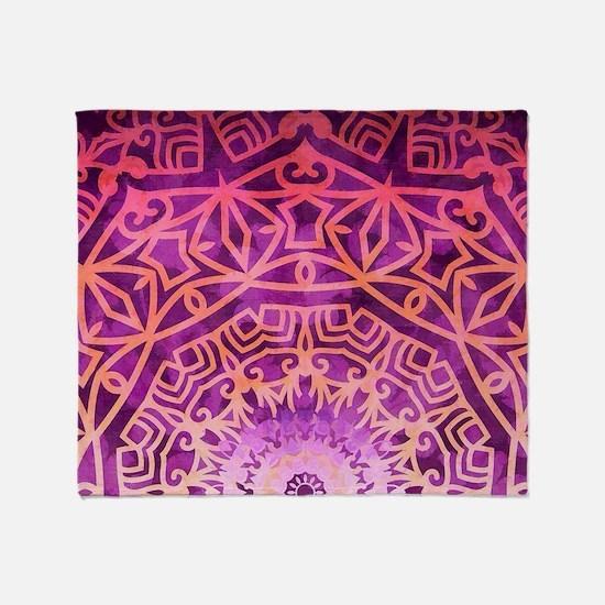 Bohemian Mandala Pink geometry Throw Blanket