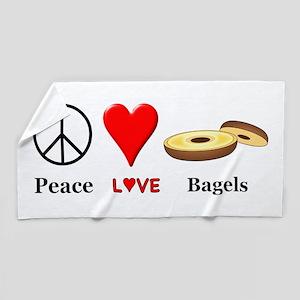 Peace Love Bagels Beach Towel