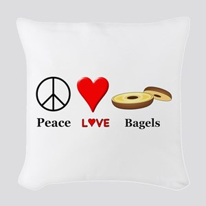 Peace Love Bagels Woven Throw Pillow