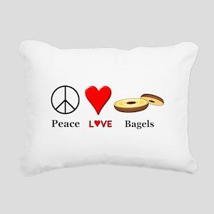 Peace Love Bagels Rectangular Canvas Pillow
