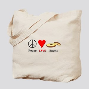 Peace Love Bagels Tote Bag