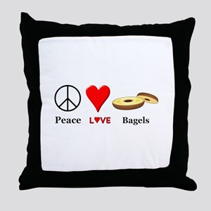 Peace Love Bagels Throw Pillow