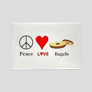 Peace Love Bagels Rectangle Magnet