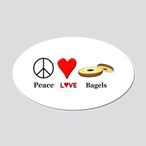 Peace Love Bagels 20x12 Oval Wall Decal