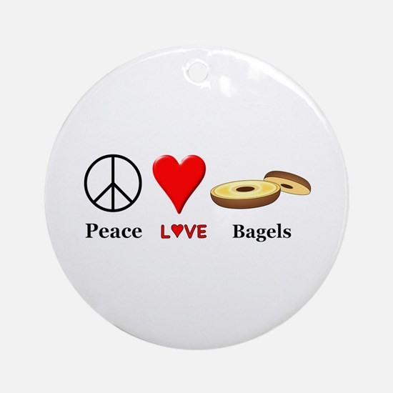 Peace Love Bagels Round Ornament