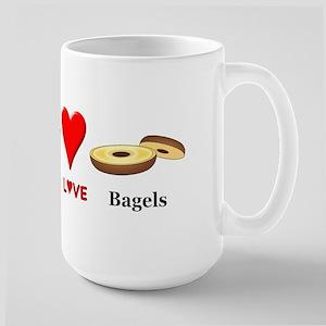 Peace Love Bagels Large Mug