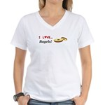 I Love Bagels Women's V-Neck T-Shirt