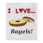 I Love Bagels Throw Blanket