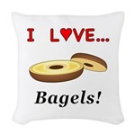 I Love Bagels Woven Throw Pillow