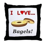 I Love Bagels Throw Pillow