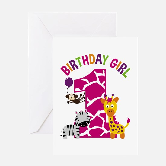 Girl Jungle 1st Birthday Greeting Cards